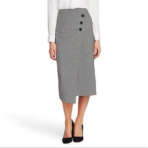 NWT {Vince Camuto} Button Front Wrap Midi Skirt